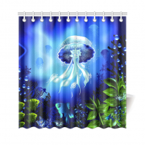 InterestPrint Underwater World Fish Home Decor, Deep Ocean Jellyfish Plants Polyester Fabric Shower Curtain Bathroom Sets with Hooks