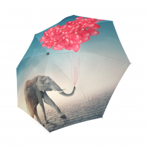 InterestPrint Elephant Balloon Love Heart Foldable Travel Rain Umbrella