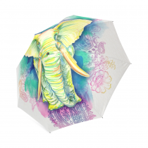 InterestPrint Elephant Watercolor Foldable Travel Rain Umbrella