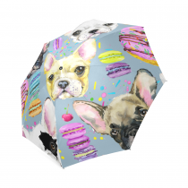 InterestPrint French Bulldog Pug Puppy Dog Donut Foldable Travel Rain Umbrella