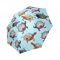 InterestPrint Sea Turtle Watercolor Foldable Travel Rain Umbrella