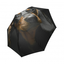 InterestPrint Cute Black Puppy Dachshund Foldable Travel Rain Umbrella