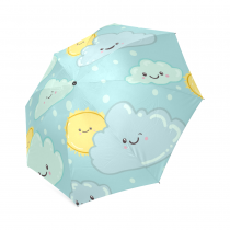 InterestPrint Blue Sky Cute Clouds with Sun Funny Smile Face Emoji Foldable Travel Rain Compact Umbrella For Children