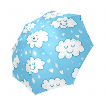 InterestPrint Cute Clouds Blue Sky Emoji Funny Face Raining Foldable Travel Rain Compact Umbrella For Kids Girls