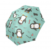 InterestPrint Funny Penguin Emotions Blue Foldable Travel Rain Umbrella