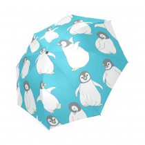 InterestPrint Lovely Penguin Animal Blue Foldable Travel Rain Umbrella