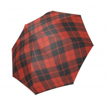 InterestPrint Vintage Tartan Red Plaid Foldable Travel Rain Umbrella
