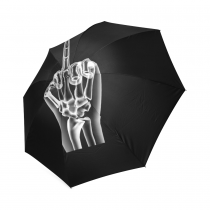 InterestPrint Black X-ray Middle Finger Foldable Travel Rain Umbrella