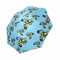 InterestPrint Hipster Cartoon Bee Blue Foldable Travel Rain Umbrella