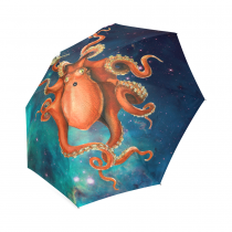InterestPrint Galaxy Space Nebula Cloud Universe Solar System Octopus Kraken Foldable Travel Rain Umbrella