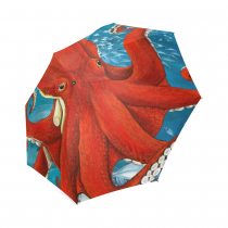 InterestPrint Underwater World Red Octopus Fish Kraken Foldable Travel Rain Umbrella