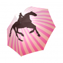 InterestPrint Stylish Racing Black Horse Pink Stripe Foldable Travel Rain Umbrella