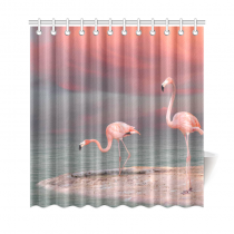InterestPrint Pink Flamingos Home Decor, Sunset Lake Landscape Polyester Fabric Shower Curtain Bathroom Sets with Hooks