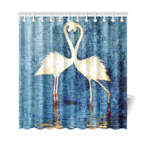 InterestPrint Vintage White Flamingos Home Decor, Blue Lake Polyester Fabric Shower Curtain Bathroom Sets with Hooks