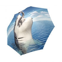 InterestPrint White 3D Shark Ocean Sea Fish Blue Sky Foldable Travel Rain Umbrella