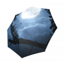 InterestPrint Hipster Cool Night Owl Bright Moon Foldable Travel Rain Umbrella