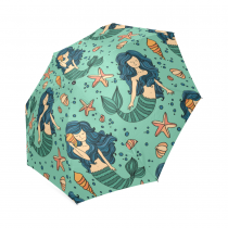 InterestPrint Cartoon Mermaid Starfish Foldable Travel Rain Umbrella