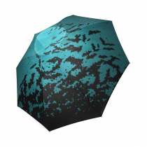 InterestPrint Moon Night Halloween Bats Gifts Foldable Travel Rain Umbrella