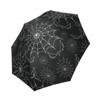 InterestPrint Spider Web Bats Halloween Gifts Foldable Travel Rain Umbrella