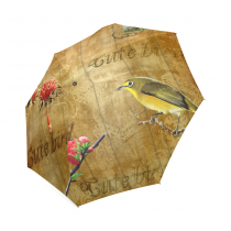 InterestPrint Vintage Yellow Daisy Lovely Birds Red Flowers Foldable Travel Rain Umbrella