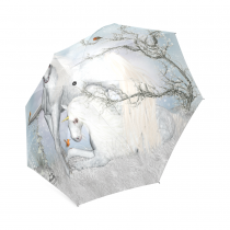 InterestPrint Winter White Unicorn Cute Birds Flower Foldable Travel Rain Umbrella