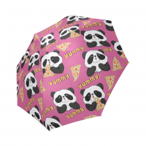 InterestPrint Happy Panda Pizza Pink Foldable Travel Rain Umbrella