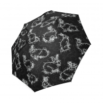 InterestPrint Vintage Retro Funny Black Rabbit Foldable Travel Rain Umbrella