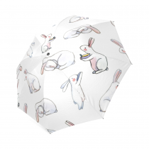 InterestPrint Vintage Cute Easter White Bunny Rabbit Foldable Travel Rain Umbrella