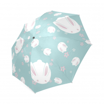 InterestPrint Hipster Japanese Cute Bunny Rabbit Flowers Blue Foldable Travel Rain Umbrella