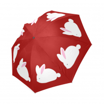 InterestPrint Stylish Cute White Bunny Rabbit Red Foldable Travel Rain Umbrella