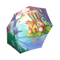 InterestPrint Cute Cartoon Fox Bear Fish Forest Flower Tree Cloud Painting Foldable Travel Rain Umbrella for Children Kids