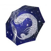 InterestPrint Stylish Fantasy Mermaid Galaxy Moon Star Blue Foldable Travel Rain Umbrella