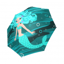 InterestPrint Stylish Cartoon Beautiful Mermaid Blue Ocean Foldable Travel Rain Umbrella