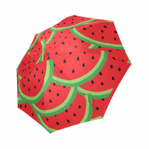 InterestPrint Stylish Red Sweet Watermelon Fruit Foldable Travel Rain Umbrella