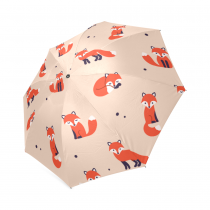 InterestPrint Cartoon Cute Fox Polka Dot Foldable Travel Rain Umbrella