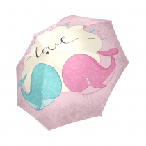 InterestPrint Cute Cartoon Whale Fish Love Heart Floral Print Pink Foldable Travel Rain Umbrella