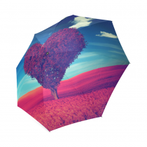 InterestPrint Love Heart Tree of Life Red Leaves Flower Blue Sky Cloud Foldable Travel Rain Umbrella