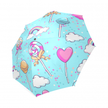 InterestPrint Clouds Rainbow Polka Dot Lollipop Candy Love Heart Blue Foldable Travel Rain Umbrella