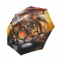 InterestPrint Tiger Lion Face Abstract Art Foldable Travel Rain Umbrella