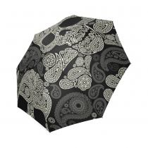 InterestPrint Black Sugar Skull Paisley Floral Foldable Travel Rain Umbrella