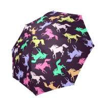 InterestPrint Hipster Realistic Unicorn Silhouette Black Foldable Travel Rain Umbrella