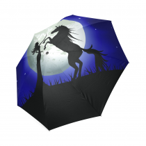 InterestPrint Hipster Beautiful Girl Silhouette Unicorn Blue Night Foldable Travel Rain Umbrella