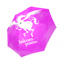 InterestPrint Stylish White Unicorn Power Pink Foldable Travel Rain Umbrella