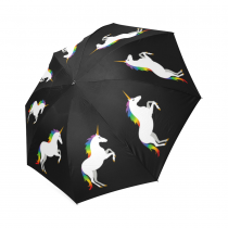 InterestPrint Stylish Colorful Unicorn Rainbow Black Foldable Travel Rain Umbrella
