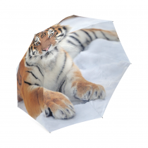 InterestPrint Stylish Wild Siberian Tiger on Snow Foldable Travel Rain Umbrella