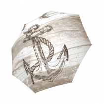 InterestPrint Vintage Anchor on Wooden Gifts Foldable Travel Rain Umbrella