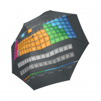 InterestPrint Fashion Periodic Table of Colorful Elements Black Foldable Travel Rain Umbrella