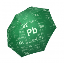 InterestPrint Stylish Periodic Table of Elements Green Foldable Travel Rain Umbrella