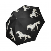 InterestPrint Hipster Running White Horse Black Foldable Travel Rain Umbrella