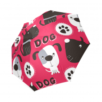 InterestPrint Pink Paw Animal Print Dog Foldable Travel Rain Umbrella